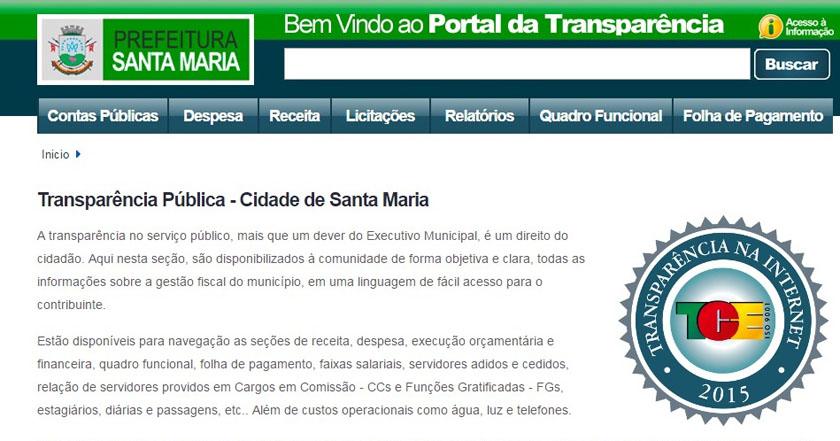 """Foto de CIDADE. SM recebe nota máxima no ranking nacional dos """"Portais de Transparência"""". Prefeitura comemora"""