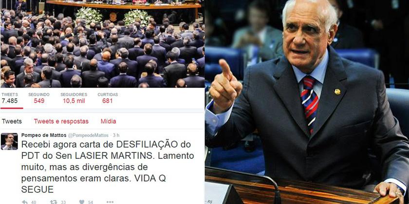 "Pompeo de Mattos, presidente estadual do PDT, se utilizou do Twitter para anunciar saída de Lasier Martins: ""vida que segue"""