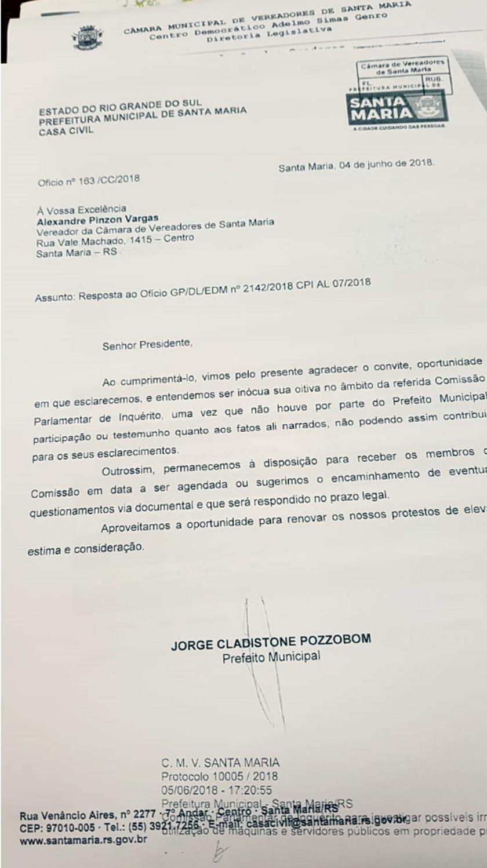 """Foto de CÂMARA. Prefeito Jorge Pozzobom recusa convite e não vai prestar dum epoimento na """"CPI das Parcerias"""""""