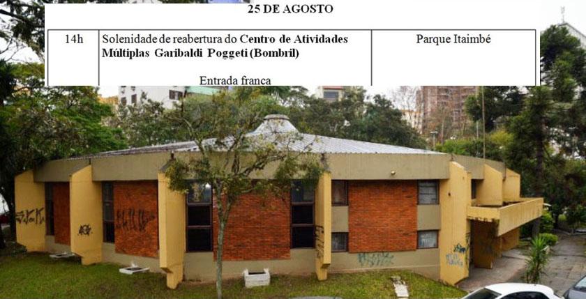 "Foto de CULTURA. Prefeitura divulga data de reabertura do ""Centro de Atividades Múltiplas Garibaldi Poggeti"""