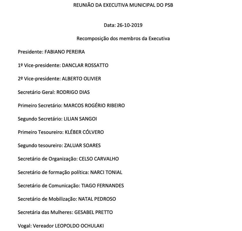 PARTIDOS. PSB santa-mariense reúne o Diretório, recompõe a Executiva e mantém Fabiano Presidente - psb-executiva-1