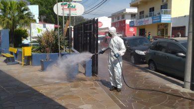 Foto de ELEIÇÕES 2020. Sede da Justiça Eleitoral de Santa Maria recebe serviço de sanitização da Prefeitura