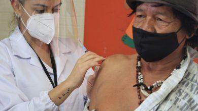 Foto de COVID-19. Profissionais da saúde vacinam população indígena aldeada de Santa Maria