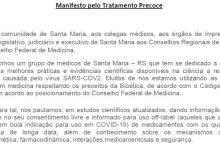 Foto de SAÚDE. Manifesto assinado por 267 médicos de Sta Maria defende tratamento precoce para covid-19